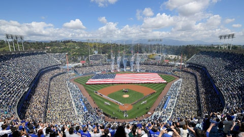 <p>               Fans stand for the national anthem before the opening day baseball game between the Los Angeles Dodgers and the Arizona Diamondbacks, Thursday, March 28, 2019, in Los Angeles. (AP Photo/Mark J. Terrill)             </p>