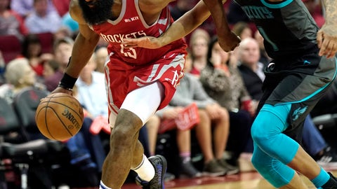 <p>               Houston Rockets' James Harden (13) drives toward the basket as Charlotte Hornets' Malik Monk (1) defends during the second half of an NBA basketball game Monday, March 11, 2019, in Houston. (AP Photo/David J. Phillip)             </p>