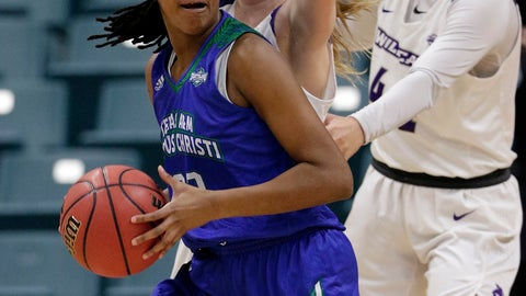 <p>               Texas A&M-Corpus Christi guard Dalesia Booth, left, turns to the basket in front of Abilene Christian guard Breanna Wright, middle, and forward Lexie Ducat, right, during the first half of an NCAA college basketball game for the Southland Conference women's tournament title Sunday, March 17, 2019, in Katy, Texas. (AP Photo/Michael Wyke)             </p>