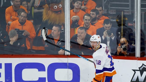 <p>               New York Islanders' Josh Bailey celebrate after scoring a goal during the third period of an NHL hockey game against the Philadelphia Flyers, Saturday, March 23, 2019, in Philadelphia. New York won 4-2. (AP Photo/Matt Slocum)             </p>