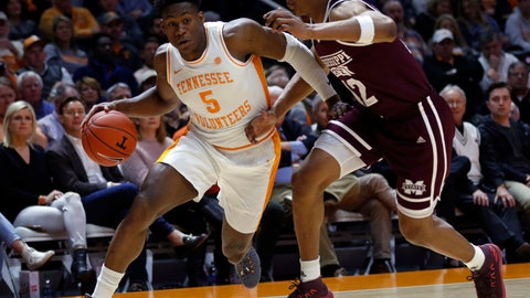 <p>               Tennessee guard Admiral Schofield (5) drives as he's defended by Mississippi State guard Robert Woodard (12) during the first half of an NCAA college basketball game Tuesday, March 5, 2019, in Knoxville, Tenn. (AP Photo/Wade Payne)             </p>