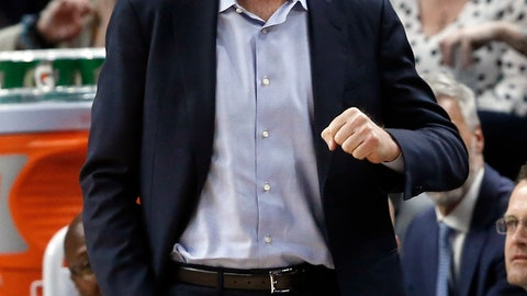 <p>               Golden State Warriors head coach Steve Kerr directs his team against the Minnesota Timberwolves in the second half of an NBA basketball game Tuesday, March 19, 2019, in Minneapolis. The Warriors won 117-107. (AP Photo/Jim Mone)             </p>