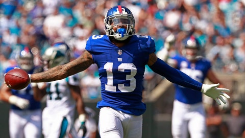 <p>               FILE - In this Oct. 7, 2018, file photo, New York Giants' Odell Beckham Jr. celebrates a catch against the Carolina Panthers during the first half of an NFL football game in Charlotte, N.C. Two people familiar with the blockbuster trade say the Cleveland Browns have agreed to acquire Beckham from the Giants. (AP Photo/Jason E. Miczek, File)             </p>