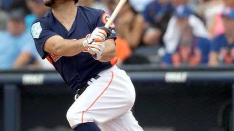 <p>               FILE - In this Feb. 25, 2019, file photo, Houston Astros' Jose Altuve lines out during the first inning of an exhibition spring training baseball game against the New York Mets in West Palm Beach, Fla. (AP Photo/Jeff Roberson, File)             </p>