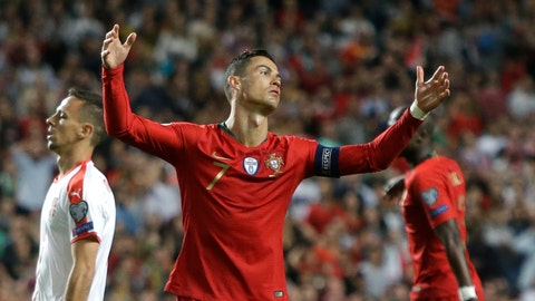 <p>               Portugal's Cristiano Ronaldo reacts during the Euro 2020 group B qualifying soccer match between Portugal and Serbia at the Luz stadium in Lisbon, Portugal, Monday, March 25, 2019. (AP Photo/Armando Franca)             </p>