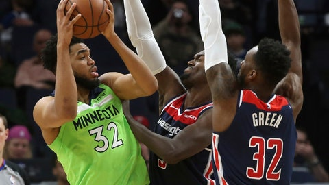 <p>               Minnesota Timberwolves' Karl-Anthony Towns, left, is double-teamed by Washington Wizards' Bobby Portis, center, and Jeff Green in the second half of an NBA basketball game Saturday, March 9, 2019, in Minneapolis. (AP Photo/Jim Mone)             </p>