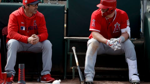 <p>               Los Angeles Angels manager Brad Ausmus, left, talks with Mike Trout during the fourth inning of a spring baseball game against the Oakland Athletics in Mesa, Ariz., Tuesday, Feb. 26, 2019. (AP Photo/Chris Carlson)             </p>
