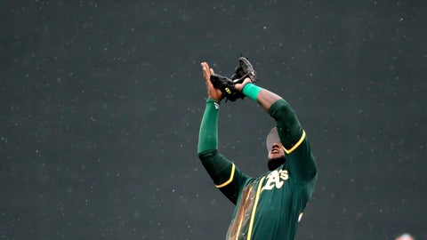 <p>               Rain falls as Oakland Athletics second baseman Jurickson Profar snags a pop-up from Colorado Rockies' Nolan Arenado in the fourth inning of a spring training baseball game Monday, March 11, 2019, in Scottsdale, Ariz. (AP Photo/Elaine Thompson)             </p>