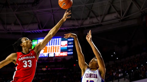 <p>               Georgia forward Nicolas Claxton (33) tips the ball as Florida guard Noah Locke (10) attempts to shoot over him during an NCAA college basketball game Saturday, March 2, 2019, in Gainesville, Fla. (Lauren Bacho/The Gainesville Sun via AP)             </p>
