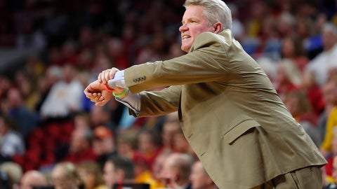 <p>               Iowa State head coach Bill Fennelly looks to an official for a call during the first half of a first round women's college basketball game against New Mexico State in the NCAA Tournament, Saturday, March 23, 2019, in Ames, Iowa. (AP Photo/Matthew Putney)             </p>