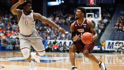 <p>               FILE - In this March 14, 2018, file photo, Texas Southern's Donte Clark (1) eyes the basket against North Carolina Central's Larry McKnight Jr. (0) during the first half of a First Four game of the NCAA men's college basketball tournament in Dayton, Ohio. The First Four has become a reward and showcase for Historically Black College and Universities, the group of schools that predate the integration, that usually do not get to play in the national spotlight without being a tasty opening-round appetizer for a No. 1 seed. (AP Photo/John Minchillo, File)             </p>