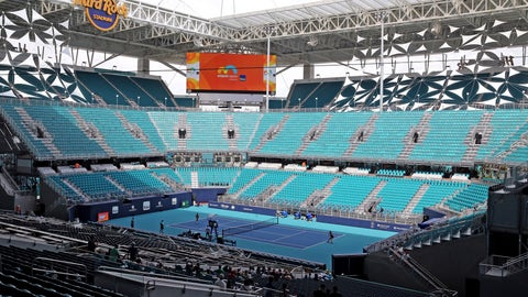 <p>               The stadium court in the middle of the field at Hard Rock Stadium at the 2019 Miami Open in Miami Gardens, Florida, Monday, March, 18, 2019.  (Charles Trainor, Jr./Miami Herald via AP)             </p>