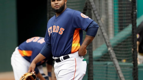 <p>               FILE - In this June 9, 2017, file photo, Houston Astros pitcher Francis Martes waits to warm up before a baseball against the Los Angeles Angeles in Houston. Martes has been suspended for 80 games following a positive test for the banned performance-enhancing drug Clomiphene, the league announced Tuesday, March 1, 2019.  (AP Photo/David J. Phillip, File)             </p>