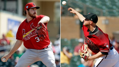 <p>               FILE - At left, in a Feb. 23, 2019, file photo, St. Louis Cardinals pitcher Miles Mikolas throws during the first inning of an exhibition spring training baseball game against the Miami Marlins, in Jupiter, Fla. At right, in a Feb. 28, 2019, file photo, Arizona Diamondbacks pitcher Merrill Kelly throws against the Cleveland Indians during the first inning of a spring training baseball game, in Scottsdale, Ariz. Perhaps no one was more invested in Miles Mickolas' return from Asia last season than Arizona right-hander Merrill Kelly, who is making a similar transition this year. (AP Photo/File)             </p>