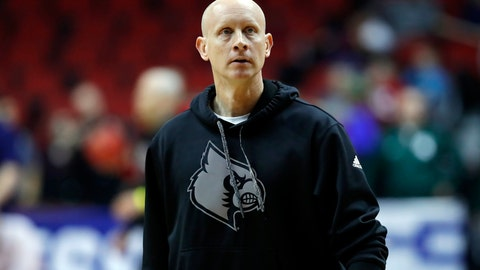 <p>               Louisville head coach Chris Mack watches his team during practice at the NCAA men's college basketball tournament, Wednesday, March 20, 2019, in Des Moines, Iowa. Louisville plays Minnesota on Thursday. (AP Photo/Charlie Neibergall)             </p>