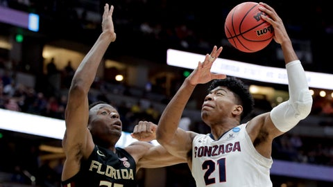 <p>               Gonzaga forward Rui Hachimura, right, shoots over Florida State forward Mfiondu Kabengele during the first half an NCAA men's college basketball tournament West Region semifinal Thursday, March 28, 2019, in Anaheim, Calif. (AP Photo/Jae C. Hong)             </p>
