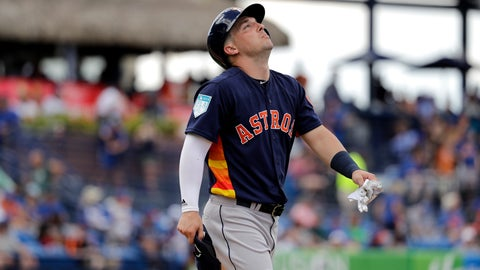 <p>               Houston Astros' Alex Bregman looks up as he walks to first after being hit by a pitch during the fifth inning of an exhibition spring training baseball game against the New York Mets Saturday, March 2, 2019, in Port St. Lucie, Fla. (AP Photo/Jeff Roberson)             </p>