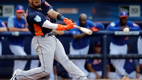<p>               Houston Astros Robinson Chirinos hits an RBI single during the fifth inning of an exhibition spring training baseball game against the New York Mets, Saturday, March 2, 2019, in Port St. Lucie, Fla. (AP Photo/Jeff Roberson)             </p>