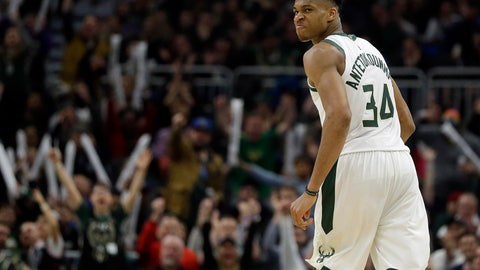 <p>               Milwaukee Bucks' Giannis Antetokounmpo reacts after making a shot during the second half of an NBA basketball game against the Charlotte Hornets Saturday, March 9, 2019, in Milwaukee. The Bucks won, 131-114. (AP Photo/Aaron Gash)             </p>