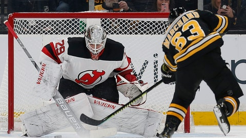 <p>               Boston Bruins' Brad Marchand (63) misses a penalty shot on New Jersey Devils' Mackenzie Blackwood (29) during the first period of an NHL hockey game in Boston, Saturday, March 2, 2019. (AP Photo/Michael Dwyer)             </p>