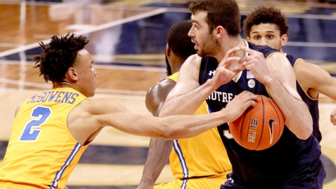 <p>               Pittsburgh's Trey McGowens (2) knocks the ball away from Notre Dame's John Mooney and recovered the loose ball with time running out during the second half of an NCAA college basketball game, Saturday, March 9, 2019, in Pittsburgh. Pittsburgh won 56-53. (AP Photo/Keith Srakocic)             </p>