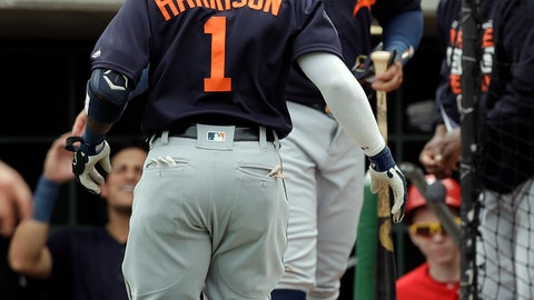 <p>               Detroit Tigers' Josh Harrison (1) celebrates with Miguel Cabrera after Harrison hit a home run off Philadelphia Phillies starting pitcher Nick Pivetta during the third inning of a spring training baseball game Wednesday, March 20, 2019, in Clearwater, Fla. (AP Photo/Chris O'Meara)             </p>