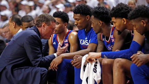 <p>               Kansas coach Bill Self talks to his players on the bench during the second half of the team's NCAA college basketball game against Texas Tech, Saturday, Feb. 23, 2019, in Lubbock, Texas. (AP Photo/Brad Tollefson)             </p>