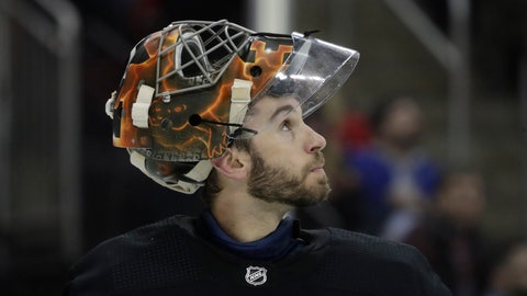 <p>               Philadelphia Flyers goaltender Cam Talbot looks up after allowing a goal to New Jersey Devils left wing Jesper Bratt, of Sweden, during the second period of an NHL hockey game Friday, March 1, 2019, in Newark, N.J. (AP Photo/Julio Cortez)             </p>