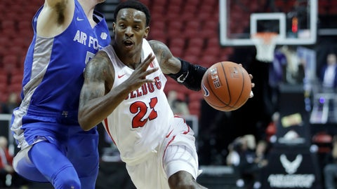 <p>               Fresno State's Deshon Taylor drives past Air Force's Christopher Joyce during the second half of an NCAA college basketball game in the Mountain West Conference men's tournament Thursday, March 14, 2019, in Las Vegas. (AP Photo/Isaac Brekken)             </p>