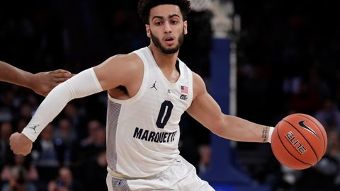 <p>               Marquette guard Markus Howard drives against St. John's during the first half of an NCAA college basketball game in the Big East men's tournament, Thursday, March 14, 2019, in New York. (AP Photo/Julio Cortez)             </p>