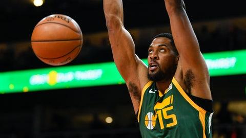 <p>               Utah Jazz forward Derrick Favors dunks during the first half of an NBA basketball game against the Atlanta Hawks, Thursday, March 21, 2019, in Atlanta. (AP Photo/John Amis)             </p>