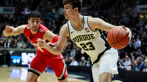 <p>               Purdue forward Kyle King (23) drives on Ohio State guard Joey Lane in the second half of an NCAA college basketball game, Saturday, March 2, 2019, in West Lafayette, Ind. Purdue won 86-51. (AP Photo/R Brent Smith)             </p>