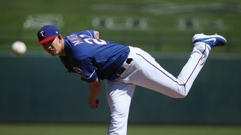 <p>               Texas Rangers pitcher Mike Minor throws against the Milwaukee Brewers during the first inning of a spring training baseball game Saturday, March 23, 2019, in Surprise, Ariz. (AP Photo/Ross D. Franklin)             </p>