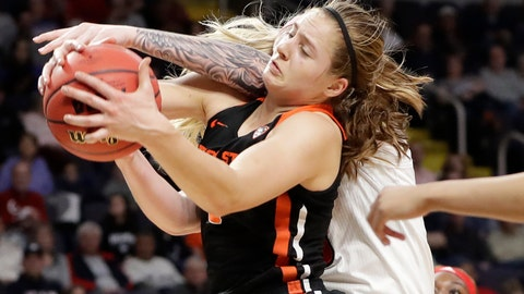 <p>               Oregon State guard Mikayla Pivec (0) battles for the ball with Louisville forward Sam Fuehring during the first half of a regional semifinal game in the NCAA women's college basketball tournament, Friday, March 29, 2019, in Albany, N.Y. (AP Photo/Kathy Willens)             </p>