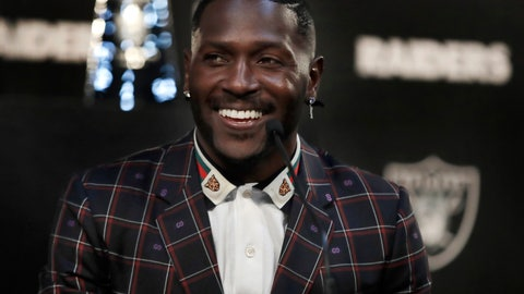 <p>               Oakland Raiders wide receiver Antonio Brown smiles during the NFL football team's news conference Wednesday, March 13, 2019, in Alameda, Calif. (AP Photo/Ben Margot)             </p>