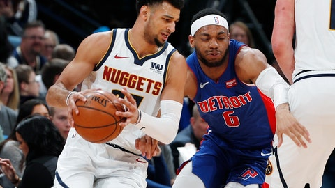 <p>               Denver Nuggets guard Jamal Murray, left, drives past Detroit Pistons guard Bruce Brown in the first half of an NBA basketball game Tuesday, March 26, 2019, in Denver. (AP Photo/David Zalubowski)             </p>