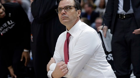 <p>               Nebraska head coach Tim Miles pauses as he argues a call during the second half of an NCAA college basketball game against Wisconsin in the quarterfinals of the Big Ten Conference tournament, Friday, March 15, 2019, in Chicago. (AP Photo/Kiichiro Sato)             </p>
