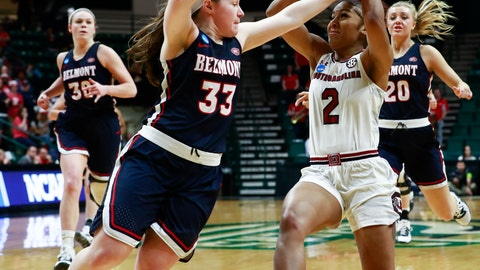 <p>               South Carolina guard Te'a Cooper (2) goes up for two points against Belmont's Darby Maggard (33) during a first-round women's college basketball game in the NCAA Tournament in Charlotte, N.C., Friday, March 22, 2019. (AP Photo/Jason E. Miczek)             </p>