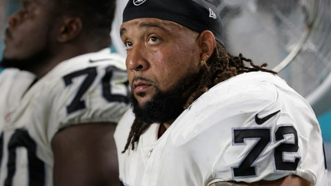 <p>               FILE - In this Nov. 5, 2017, file photo, Oakland Raiders offensive tackle Donald Penn (72) sits on the sidelines during the first half of an NFL football game against the Miami Dolphins,in Miami Gardens, Fla. The Raiders cut ties with Penn on Saturday, March 16, 2019, after signing Trent Brown to the richest contract ever for a tackle earlier in the week and drafting two tackles in the first three rounds last year. (AP Photo/Lynne Sladky, File)             </p>