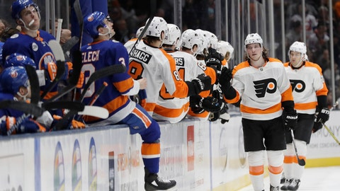 <p>               Philadelphia Flyers' Nolan Patrickcelebrates with teammates after scoring a goal during the second period of an NHL hockey game against the New York Islanders Saturday, March 9, 2019, in Uniondale, N.Y. (AP Photo/Frank Franklin II)             </p>