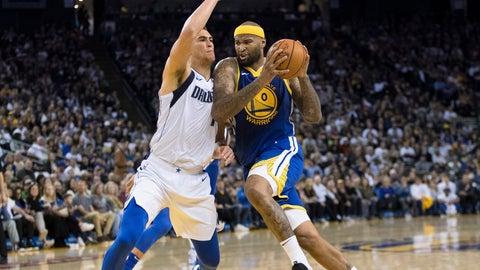 <p>               Golden State Warriors center DeMarcus Cousins, right, collides with Dallas Mavericks forward Dwight Powell in the second half of an NBA basketball game Saturday, March 23, 2019 in Oakland, Calif. (AP Photo/John Hefti)             </p>