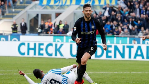 <p>               Inter Milan's Roberto Gagliardini celebrates after scoring his side's second goal during the Serie A soccer match between Inter Milan and Spal at the San Siro Stadium, in Milan, Italy, Sunday, March 10, 2019. (AP Photo/Antonio Calanni)             </p>