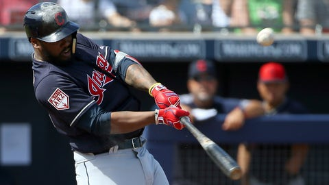 <p>               Cleveland Indians' Hanley Ramirez hits a pop fly during the second inning of a spring training baseball game against the San Diego Padres' Monday, March 4, 2019, in Peoria, Ariz. (AP Photo/Ross D. Franklin)             </p>