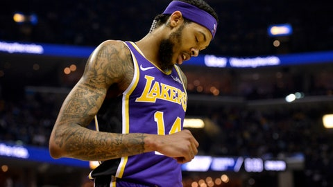 <p>               FILE - In this Monday, Feb. 25, 2019, file photo, Los Angeles Lakers forward Brandon Ingram (14) plays in the first half of an NBA basketball game against the Memphis Grizzlies in Memphis, Tenn. Ingram will miss the rest of the season after being diagnosed with a deep venous thrombosis in his right arm, the Lakers announced Saturday, March 9, 2019. (AP Photo/Brandon Dill, File)             </p>