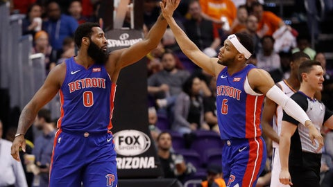 <p>               Detroit Pistons center Andre Drummond (0) and guard Bruce Brown (6) celebrate during the second half of the team's NBA basketball game against the Phoenix Suns, Thursday, March 21, 2019, in Phoenix. (AP Photo/Matt York)             </p>