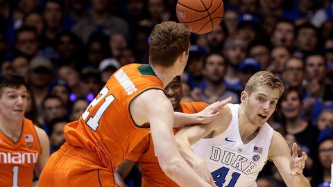 <p>               Duke's Jack White (41) and Miami's Sam Waardenburg (21) chase the ball during the first half of an NCAA college basketball game in Durham, N.C., Saturday, March 2, 2019. (AP Photo/Gerry Broome)             </p>