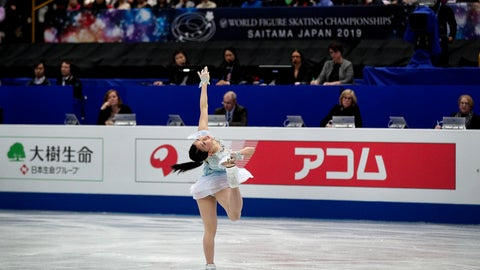 <p>               Rika Kihira, of Japan perform during the ladies short program in the ISU World Figure Skating Championships at Saitama Super Arena in Saitama, north of Tokyo, Wednesday, March 20, 2019. (AP Photo/Andy Wong)             </p>
