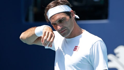 <p>               Roger Federer, of Switzerland, warms up for his match against Daniil Medvedev, of Russia, at the Miami Open tennis tournament, Wednesday, March 27, 2019, in Miami Gardens, Fla. (AP Photo/Joel Auerbach)             </p>