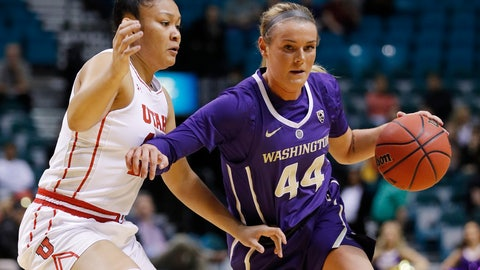 <p>               Washington's Missy Peterson drives around Utah's Sarah Porter during the first half of an NCAA college basketball game at the Pac-12 women's tournament Thursday, March 7, 2019, in Las Vegas. (AP Photo/John Locher)             </p>