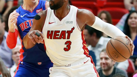 <p>               Miami Heat guard Dwyane Wade (3) drives against Detroit Pistons guard Luke Kennard during the first half of an NBA basketball game, Wednesday, March 13, 2019, in Miami. (AP Photo/Wilfredo Lee)             </p>
